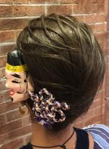 お祭りヘア(髪型ミディアム)