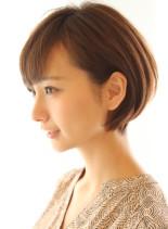 丸みが可愛いニュアンスショートボブ(髪型ショートヘア)
