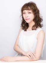 外国人風♪オン眉カールミディ(髪型ミディアム)