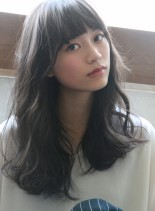 美人ウェーブロング☆暗髪アッシュカラー(髪型ロング)