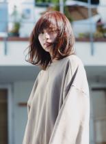 ワンカールミディ(髪型ミディアム)