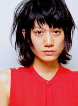 ヌケ感・無造作なパーマのショートウルフ(髪型ショートヘア)