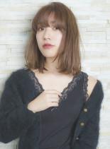 大人可愛い抜け感ナチュラルロブ(髪型ミディアム)