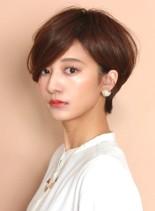 前髪長め☆大人シンプルショートボブ(髪型ショートヘア)