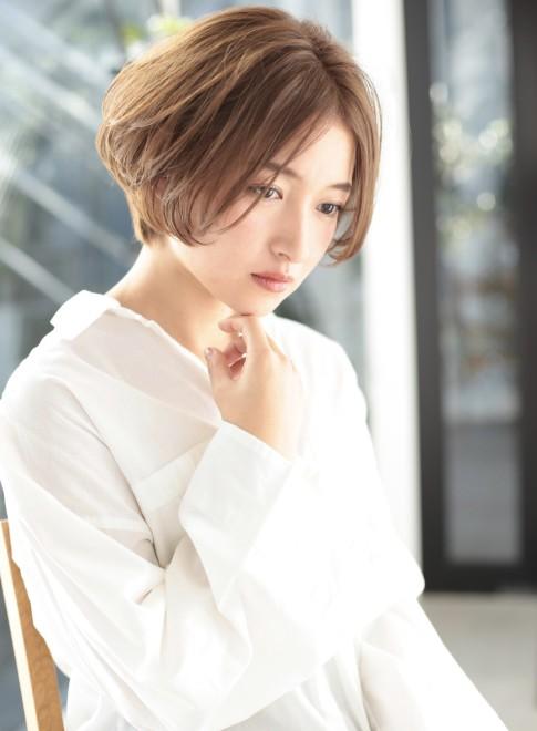 30、40代◎丸顔◎前髪長めショート☆(髪型ショートヘア