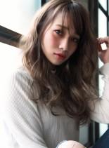 透明感グレージュカラー&ラフカールロング(髪型ロング)