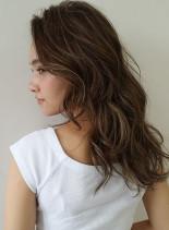 ハイライトを使ったブレンドヘアー(髪型ロング)