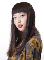 ナチュラルワイドバングストレート(髪型ロング)