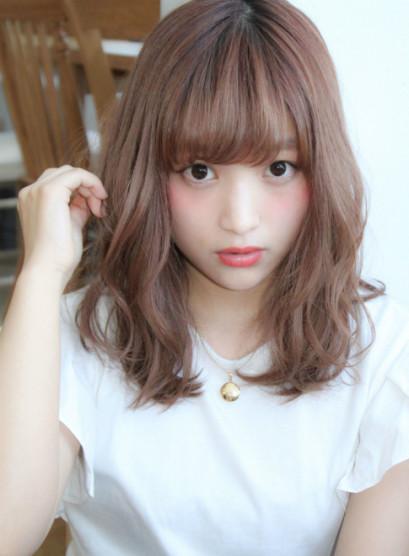 ミルクティーピンクベージュ(髪型セミロング)