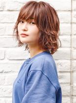 ニュアンスカールスタイル/ピンクブラウン(髪型ボブ)