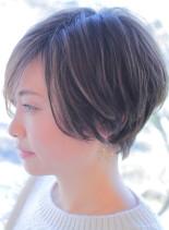 大人のロングバングショート(髪型ショートヘア)