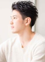 浅め2ブロック×外国人風毛束質感(髪型メンズ)