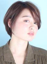 前髪長め☆ボリュームアップショートボブ☆(髪型ショートヘア)