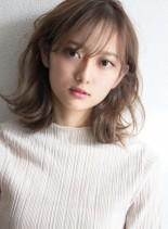 小顔ボブ☆透明感ミルクティーアッシュ(髪型ミディアム)