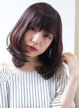 ダークトーンカラーワンカールミディアム(髪型ミディアム)