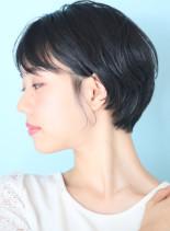 小顔効果☆ツヤ感大人ショート(髪型ショートヘア)