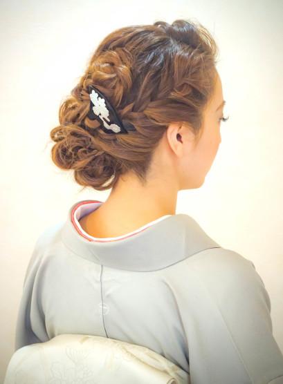 着付けヘアセット(髪型セミロング)