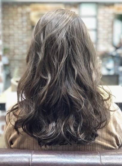 デジタルパーマ☆グレージュカラー(髪型セミロング)