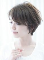 分け目のない小顔前髪美シルエットショート(髪型ショートヘア)