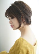 丸みのある柔らかショートボブ(髪型ショートヘア)