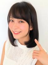 小顔ひし形カット(髪型ミディアム)
