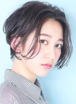 前髪長めの小顔ニュアンスショート☆(髪型ショートヘア)