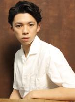 大人のウェーブショート(髪型メンズ)