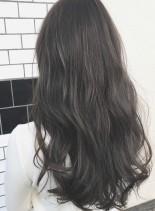 暗髪ブルージュカラー☆透明感アッシュ(髪型ロング)