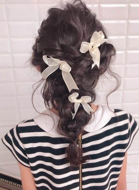 キッズ☆ヘアアレンジ(髪型セミロング)