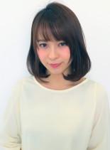 小顔カット内巻きミディアム(髪型ミディアム)