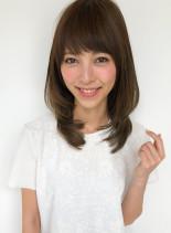 ひし形カット!内巻きレイヤースタイル(髪型ミディアム)