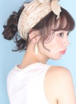 大人可愛い◇お団子スカーフアレンジ(髪型ロング)