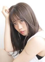 大人可愛い艶髪☆シャーベットアッシュ(髪型セミロング)
