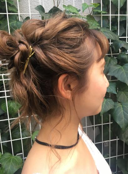 簡単ねじりアレンジ(髪型ボブ)