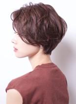大人可愛い耳掛けゆるふわパーマショート(髪型ショートヘア)