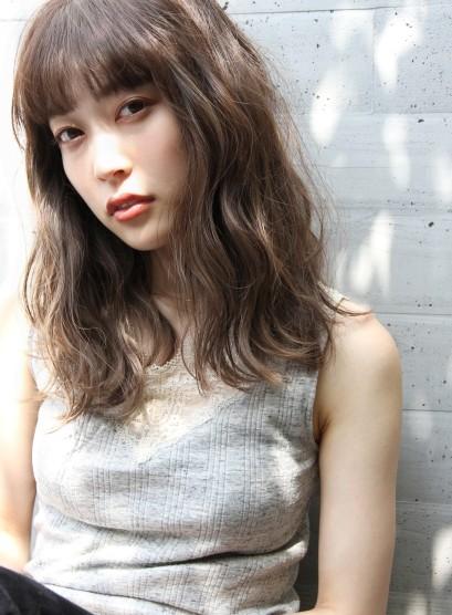 ルーズウェーブ☆赤味消しダークブラウン(髪型セミロング)