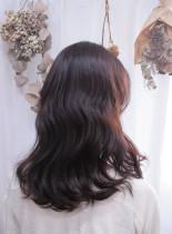7トーンオレンジ×ゆる巻き(髪型セミロング)