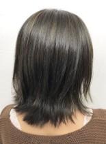 艶髪シャーベットアッシュハイライト(髪型ボブ)