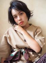 ラフパーマショートボブ(髪型ショートヘア)