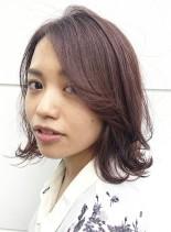 スモーキーピンクで秋カラー(髪型ボブ)