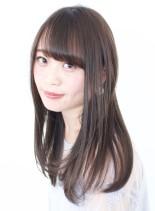 大人綺麗なサラつやストレートヘア(髪型セミロング)