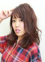 ピンクグレージュセミロング(髪型セミロング)