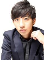 前髪ストレート×黒髪×メンズショート(髪型メンズ)