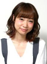 アレンジ×波ウェーブ×ミディアムボブ(髪型ミディアム)