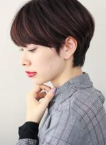 簡単スタイリング耳掛け艶ショート(髪型ショートヘア)