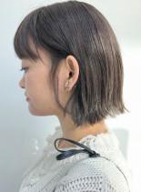 ブリーチなしの透明感カラー(髪型ボブ)
