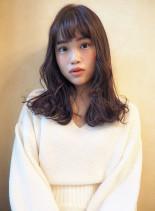艶カラー☆マロングレージュ(髪型セミロング)