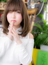 フリンジバング モテワンカール(髪型ミディアム)