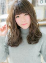ゆるふわセミロング(髪型セミロング)