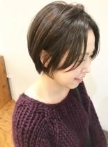 30代・40代◎前髪長めのショート(髪型ショートヘア)